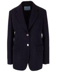 Prada Women's P586hs2011voqf0008 Blue Wool Blazer