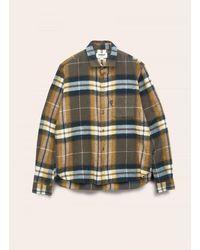 YMC Curtis Wool Check Shirt — Olive - Green
