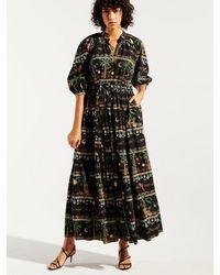 Hayley Menzies Midnight Safari Midi Volume Shirt Dress - Black
