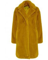 Ichi Kyra Tobacco Faux Fur Coat - Yellow