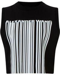 Alexander Wang Onyx Cropped Logo Barcode Tank - Black