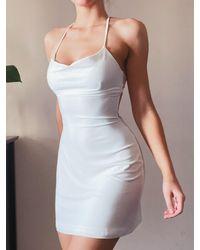 AYM Manor Mini Dress With Built In Bra - White
