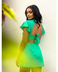 AYM Hyde Bamboo Mini Dress With Built-in Shorts - Green
