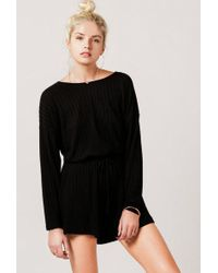 Azalea - Soft Ribbed Long Sleeve Romper - Lyst