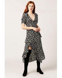 Azalea - V-neck Short Sleeve Micro Floral Dress - Lyst