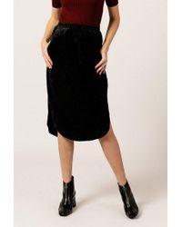 Azalea - Velvet Tie Waist Midi Skirt - Lyst