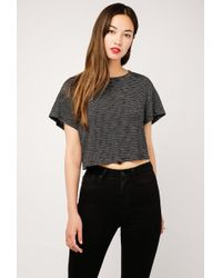 Lush - Striped Ss Crop Tee - Lyst