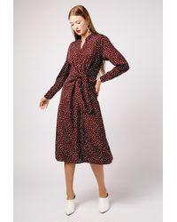 Azalea - Polka Dot Ls Midi Tie Front Dress - Lyst