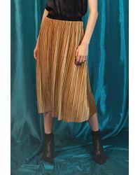 Azalea - Velvet Pleated Midi Skirt - Lyst