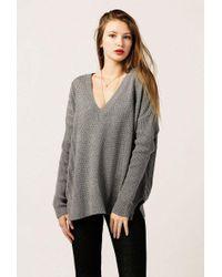 Azalea - Long Sleeve V Neck Rib Sweater - Lyst