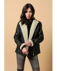 Doma Leather - Shearling Biker Jacket - Lyst