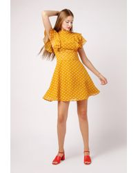 Azalea - Polka Dot Flutter Sleeve Dress - Lyst