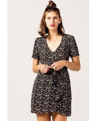 Azalea - V-neck Floral Knot Dress - Lyst