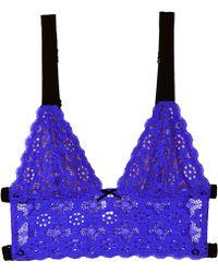 Fleur du Mal Crochet Lace Longline Triangle Bra purple - Lyst