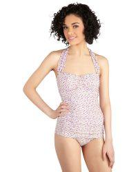 Esther Williams Swimwear Bathing Beauty One-Piece Swimsuit In Plum Posy - Lyst