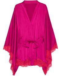 Agent Provocateur Novah Lacetrimmed Stretchsilk Kimono - Purple