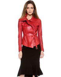 Donna Karan - Self Belted Leather Jacket - Lyst