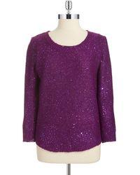 Anne Klein Sequined Three Quarter Pullover - Lyst