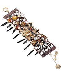 Betsey Johnson Hollywood Glam Leopard Face Toggle Bracelet - Lyst