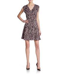 Rebecca Taylor Leopard-Print V-Neck Dress - Lyst