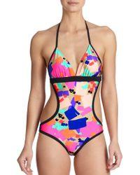 Shoshanna One-Piece Confetti Squares Cutout Swimsuit multicolor - Lyst