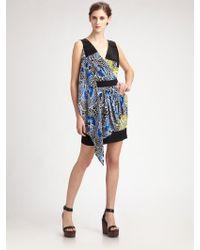 BCBGMAXAZRIA Floral Silk Asymmetrical Wrap Dress - Lyst