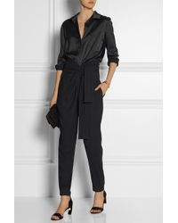 Jay Ahr Satin And Stretch-Crepe Jumpsuit - Lyst