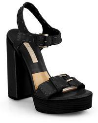 Michael Kors Janey Runway Leather Platform Sandals black - Lyst