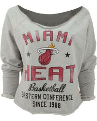 Sportiqe Women's Long-sleeve Miami Heat Crop Top - Gray