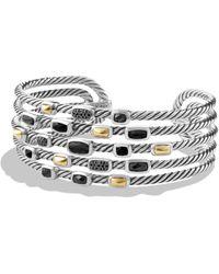 David Yurman Confetti Wide Cuff Bracelet with Black Onyx Black Diamonds and Gold - Lyst