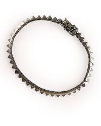 Eddie Borgo Gunmetal Pyramid Tennis Bracelet - Grey
