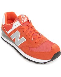 New Balance | orange 574 Orange Mesh And Suede Sneakers | Lyst