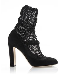 Dolce & Gabbana Suede Mary Jane and Lace Combo Bootie - Lyst