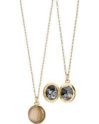 Monica Rich Kosann - 18k Cognac Crystal Mother-of-pearl Locket Necklace - Lyst