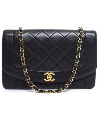 Chanel Pre-Owned Black Lambskin Medium Single Flap Bag black - Lyst