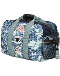 KENZO Logo Patches On Printed Nylon Duffle Bag - Blue