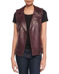 Bagatelle Leather Moto Vest With Belted Hem - Lyst