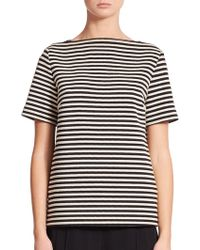 T By Alexander Wang Twisted Stripe Leather-Trim Knit Top - Lyst