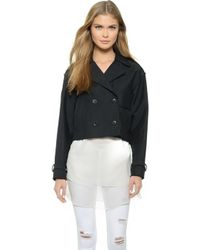 Rag & Bone Marshall Cropped Trench Jacket - Caviar - Lyst