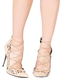 Lust For Life Lfl Essence Laser Cut Court Shoes - Nude Patent - Natural
