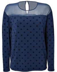 Juicy Couture Jersey Top with Flocked Polka Dots - Lyst