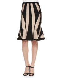 Hervé Léger Geometric Pattern Flounce-Hem Skirt black - Lyst