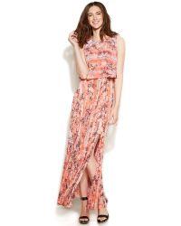 Calvin Klein Petite Tiered Printed Maxi Dress - Lyst