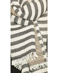 Tory Burch Tory Striped Scarf - Black Multi - Lyst