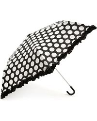 Forever 21 Dotted Ruffle Travel Umbrella - White