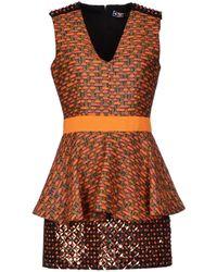 MSGM Orange Short Dress - Lyst