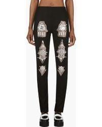 KTZ - Black Berbere Jewel Patch Skinny Trousers - Lyst