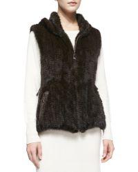 Belle Fare Knitted Mink Fur Zip Vest - Lyst