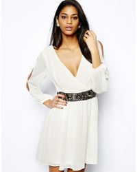 Lipsy Wrap Front Skater Dress with Embellished Waist - Lyst