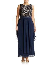 Eliza J Plus Lace Accented Gown - Lyst